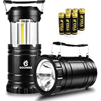 GOOHIKE LED Camping Lantern Flashlights - 350 Lumen Ultra Bright 2-In-1 Portable Collapsible Lantern With 6 AA Batteries for Emergencies, Camping, Car Repairing, Black(2 PACK)