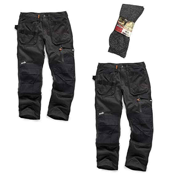 7852cae6b7e5 mad4tools Scruffs 3D Trade Work Trousers Twin Pack Black Grey with Boot  Socks  Amazon.co.uk  Clothing