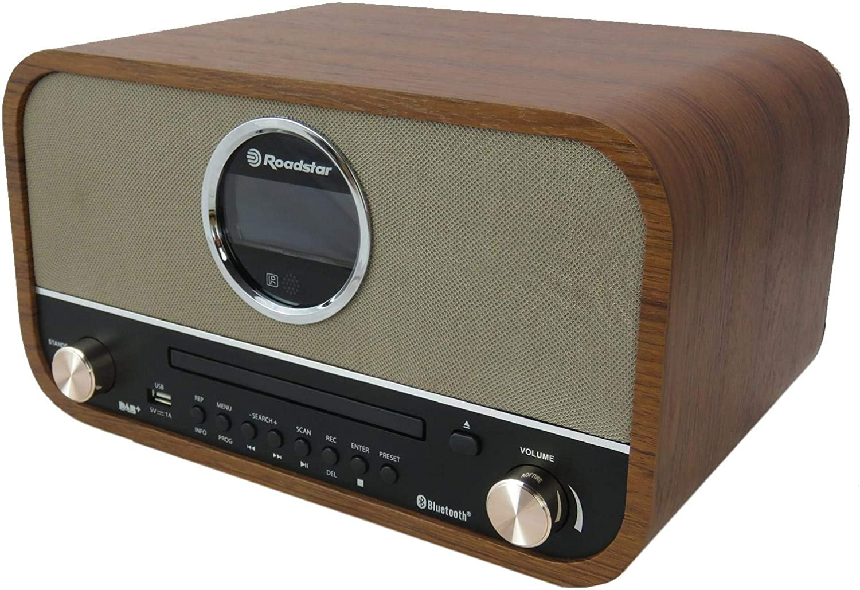 Roadstar HRA1782NDBT Microcadena Retro, Bluetooth, CD, USB, FM Radio, Dab+, AUX, Despertador, Mando a Distancia, Madera, PMP 240W