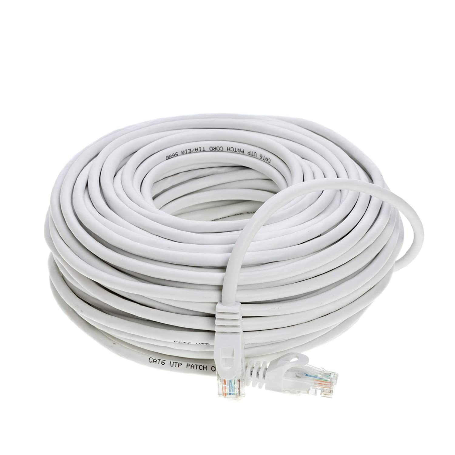 75ft Cat6 Networking Rj45 Ethernet Patch Cable Xbox Pc Data Wiring Modem Ps4 Router 75 Feet White Computers Accessories