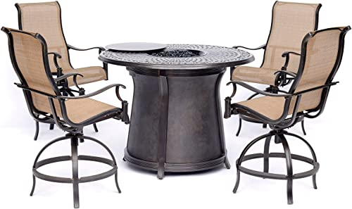 Hanover MAN5PCFPRD-BR Manor 5-Piece High-Dining Set