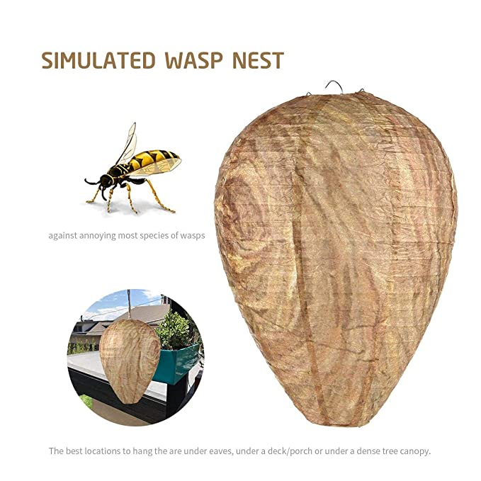 Opslea 3 Pack Paper Wasp Nest Decoys Deterrent Yellowjackets Bee Hanging Eco Friendly Protection for Garden Summer Camping Indoor Outdoor
