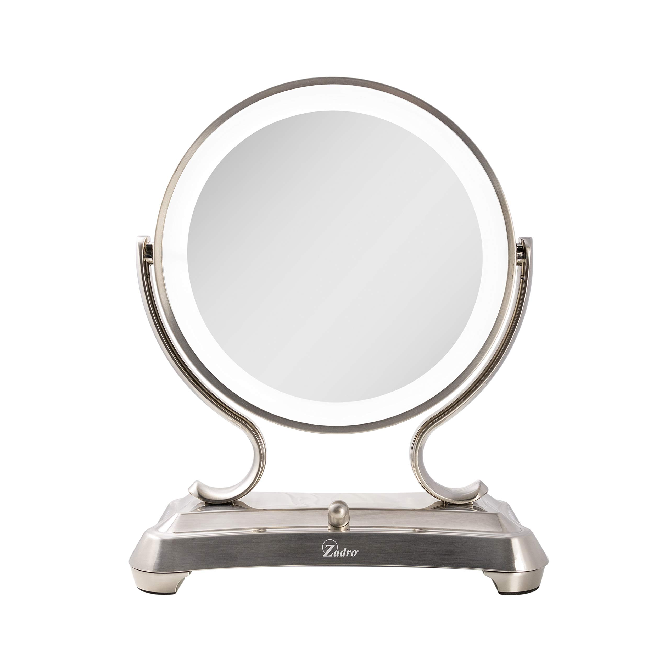 Zadro Products Zadro products surround light dual sided glamour 5x/1x magnification vanity mirror, satin nickel, Satin Nickel by Zadro