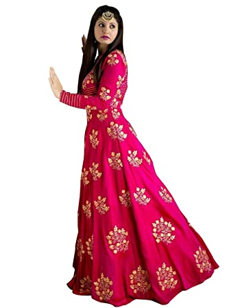 fc4976ec2 Peachmode Women s Pink Cotton Silk Semi Stitched Gown  Amazon.in  Clothing    Accessories