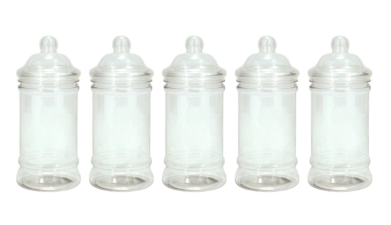 Britten & James - Surtido de 5 jarras de plástico vacías (diseño variado tipo victoriano) Plástico autorizado para uso con alimentos aunque puede utilizarse para otros usos. Ideal para fiestas, cumpleaños, bodas, de San Valentín, Navidad, Pascua, Hallo