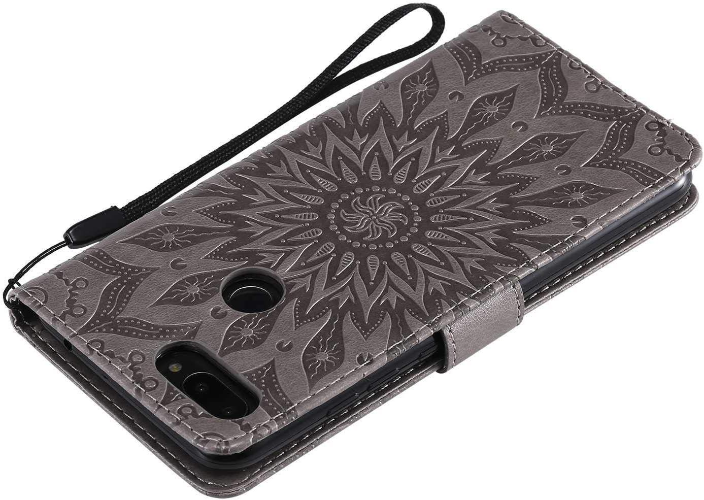 Sun Flower Design Shockproof Cover for Xiaomi MI 8 Lite Grey KKEIKO Xiaomi MI 8 Lite Case Xiaomi MI 8 Lite Flip Leather Wallet Case Notebook Style