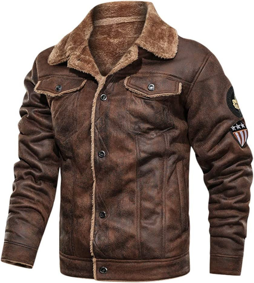 cobcob Mens Leather Jacket,Buttons Solid Coat Fleece Lined Warm Pockets Retro Jacket Biker Motorcycle Outwear
