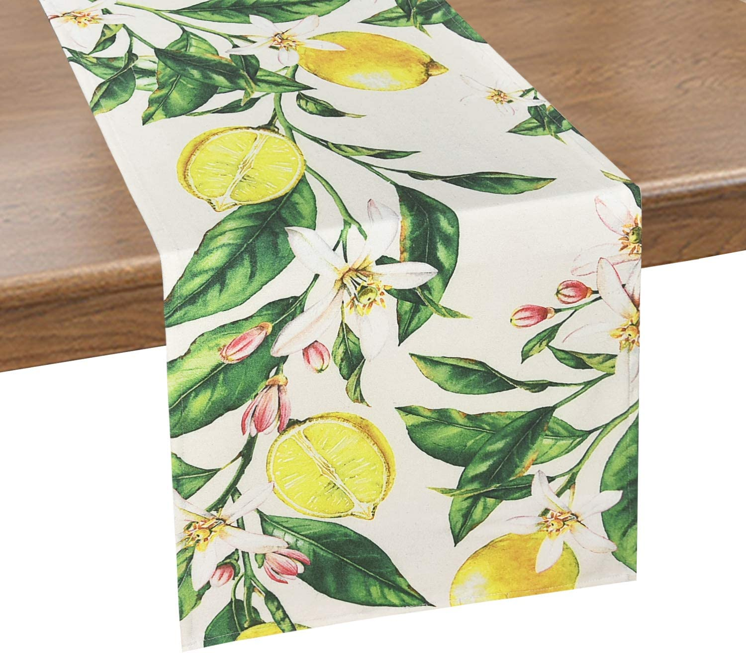 Alishomtll Lemon Table Runner Yellow and Green Printed Flower Table Runners for Spring Holiday, Summer, Catering Events, Dinner Parties, Wedding, Indoor and Outdoor Parties, 14