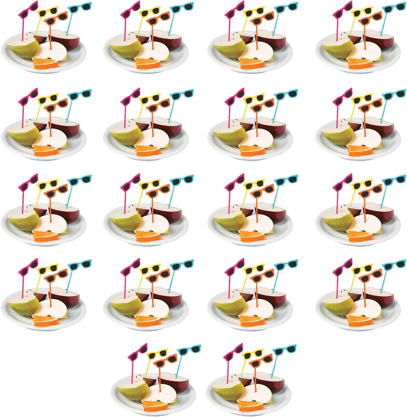Fun Express - Sunglasses Plastic Picks (72pc) - Party Supplies - Serveware & Barware - Picks & Stirrers & Parasols - 72 Pieces