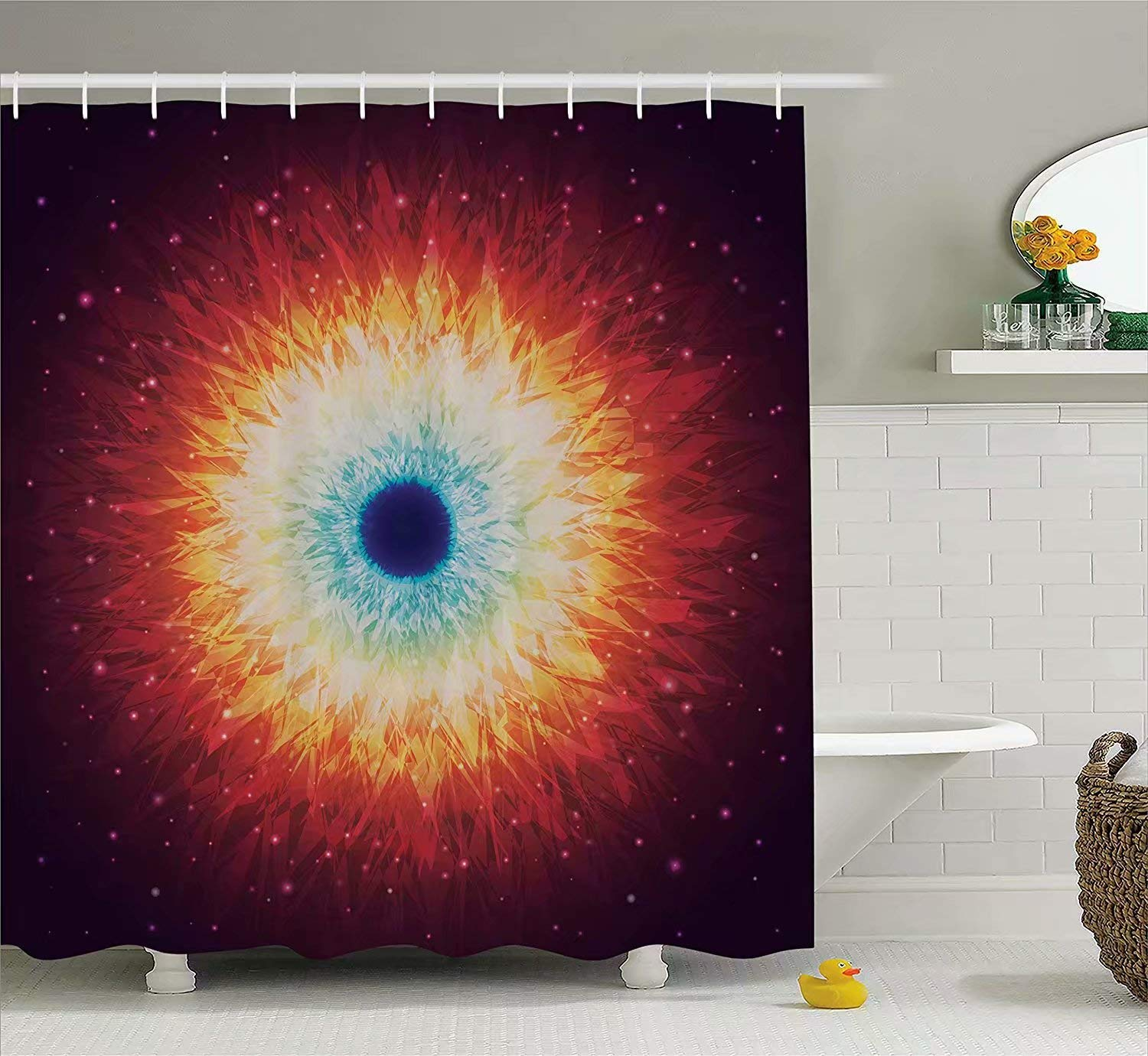 KANATSIU Galaxy Stars Black Hole Mysterious Celestial Astral Universe Shower Curtain 12 Plactic Hooks,100% Made Polyester,Mildew Resistant & Machine Washable,Width x Height is 60x72