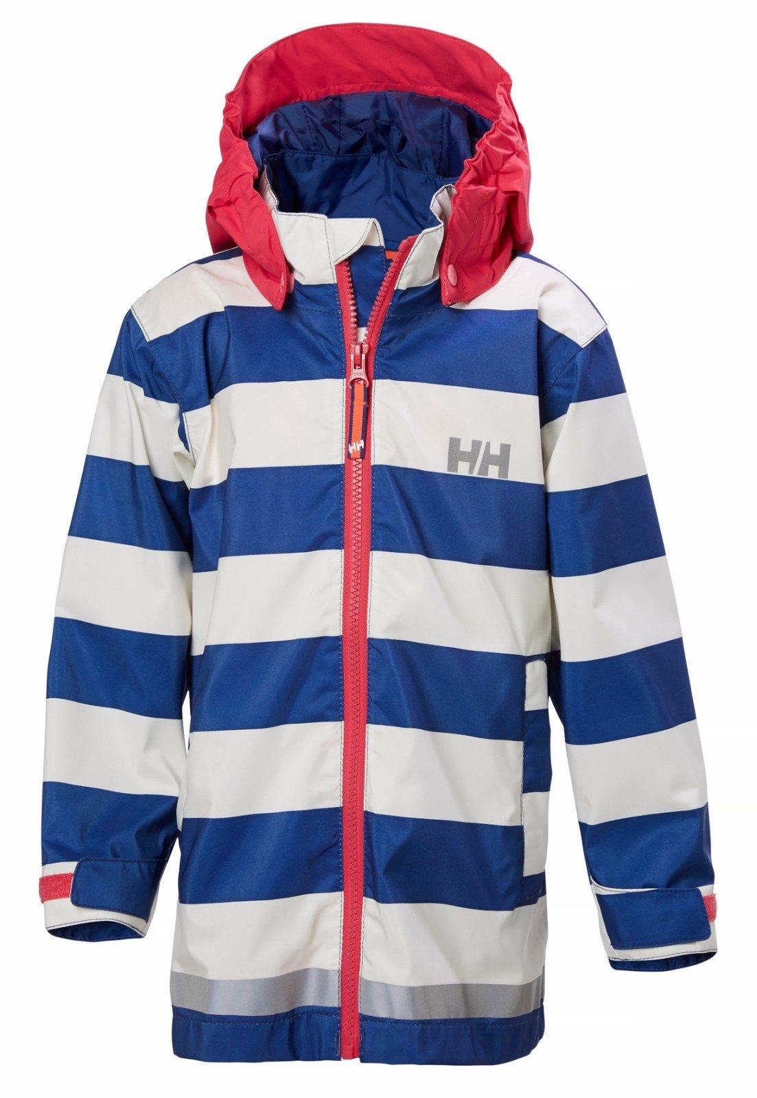 Helly Hansen Girl's Kid's Amalie Rain Jacket, Marine Blue Stripe, 8