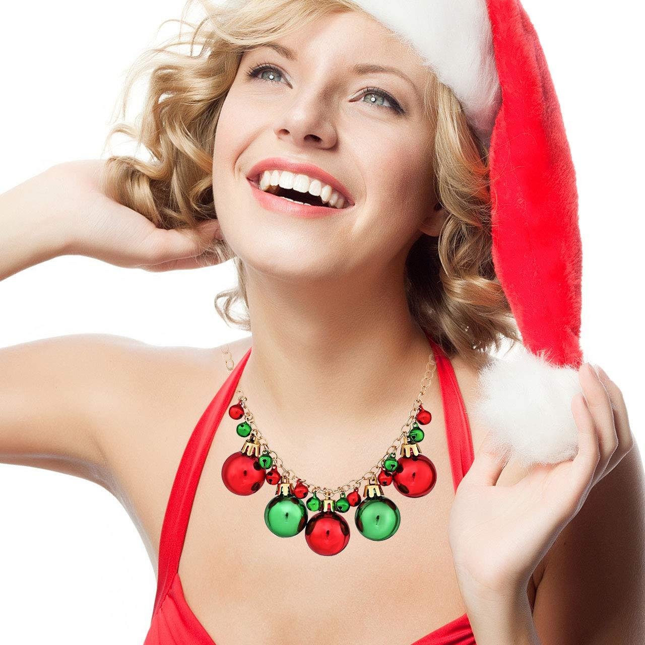 XOCARTIGE Christmas Necklace X-Mas Jingle Bell Necklaces Bow Pendant Necklace Present for Women Girls