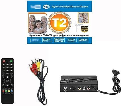 Docooler Decodificador de Receptor de TV DVB-T/T2/C, Compatible con H.265 WiFi USB 2.0 Full HD 1080P con Mando a Distancia Soporte PVR Youtube