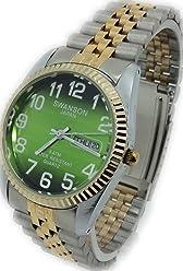 Reloj de Hombre Swanson Nuevo Japan Watch Fecha,Dia Numeros Grandes, Dos Tonos Contra