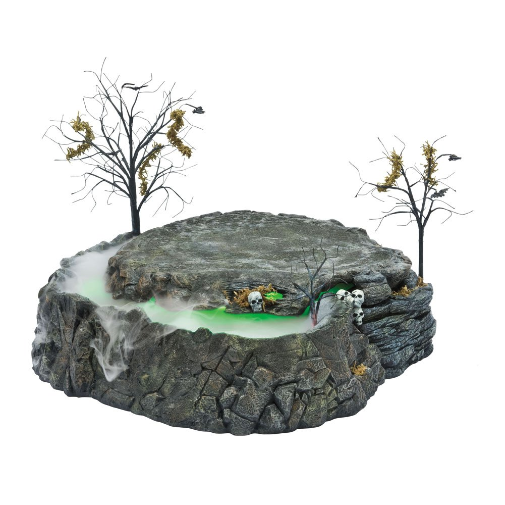 Department 56 Snow Village Halloween Foggy Point Platform Display for Lit House with Fog and Lighting Effects by Department 56