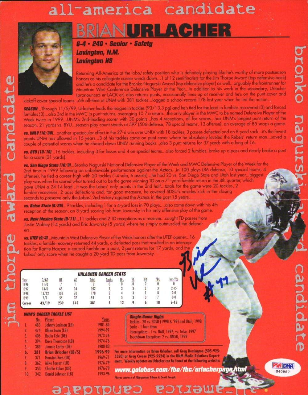 Brian Urlacher Autographed Magazine Page Photo New Mexico Lobos #S40987 PSA/DNA Certified Autographed College Magazines