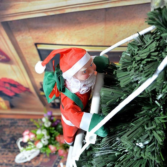 ggaggaa Papá Noel Que Sube en la Escalera de Cuerda para el árbol de Navidad Decoración de Adornos Colgantes al Aire Libre de Interior Fiesta de Navidad de Navidad Puerta de casa