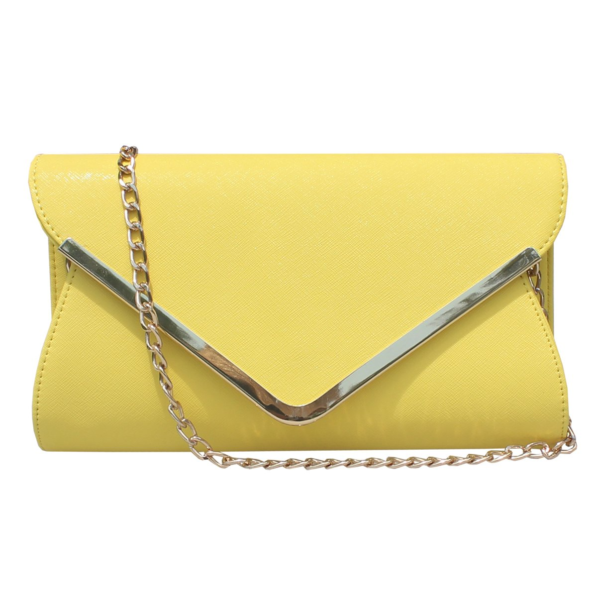 Womens Faux Leather Envelope Clutch Bag Evening Handbag Shouder Bag Wristlet Purse With Chain Strap. (Yellow)