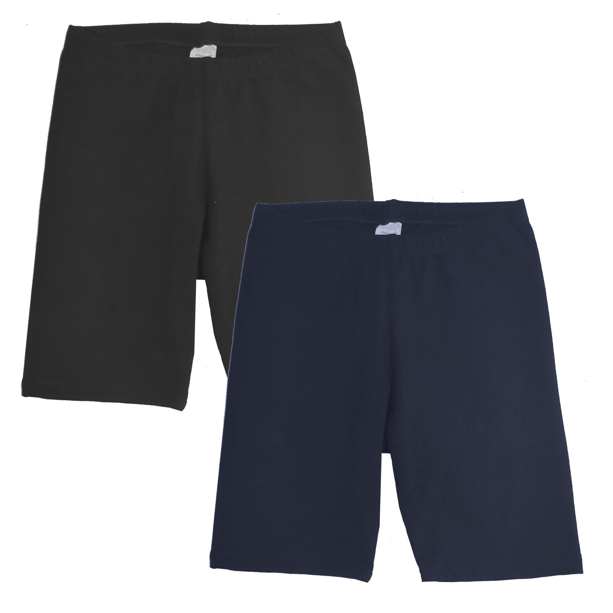 Popular Toddler Boy's Pull On Cotton Shorts - 2 Pack - Black and Navy - L