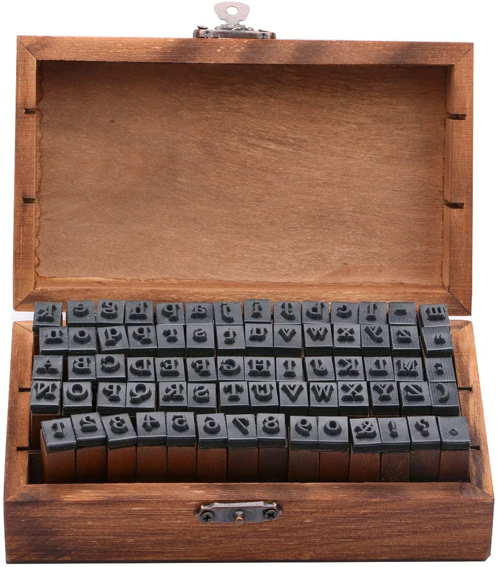 Wooden Rubber Upper 70 Pc  Lower Case Alphabet Letters Number Stamps Set Retro