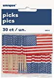 US American Flag Cupcake Toppers, Pack of 30
