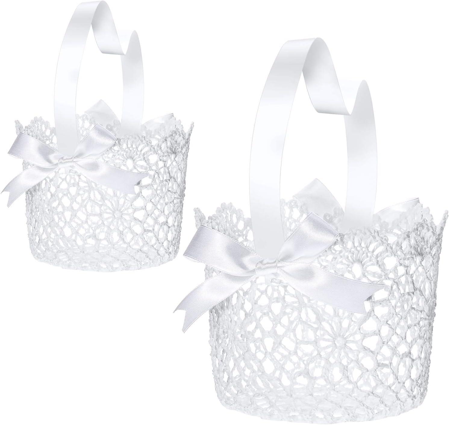 Boao White Handle Wedding Flower Girl Baskets, 2 Packs (5.90 x 4.72 x 4.33 Inch)