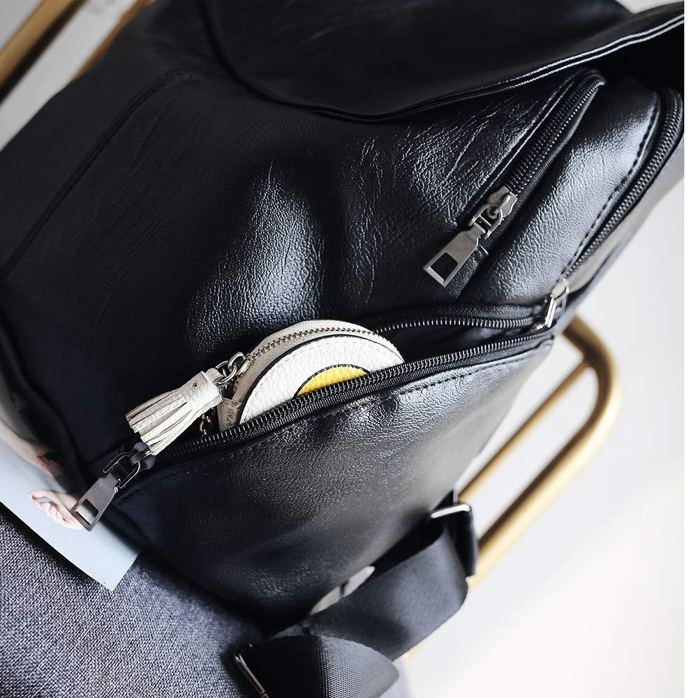 Bolsos Mochilas Mujer Casual Negro con Cremallera Color S/ólido de Moda de Cuero Suave Simple Atm/ósfera Bolsos Totes para Diario Ocio y Viaje Messenger Bag Backpack para Chicas y Se/ñoritas