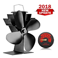 Silent Log Wood Burner Heat Powered Stove Fan with 4 Blade & Stove Thermometer for Fireplaces-Eco Friendly Circulation [A+++]