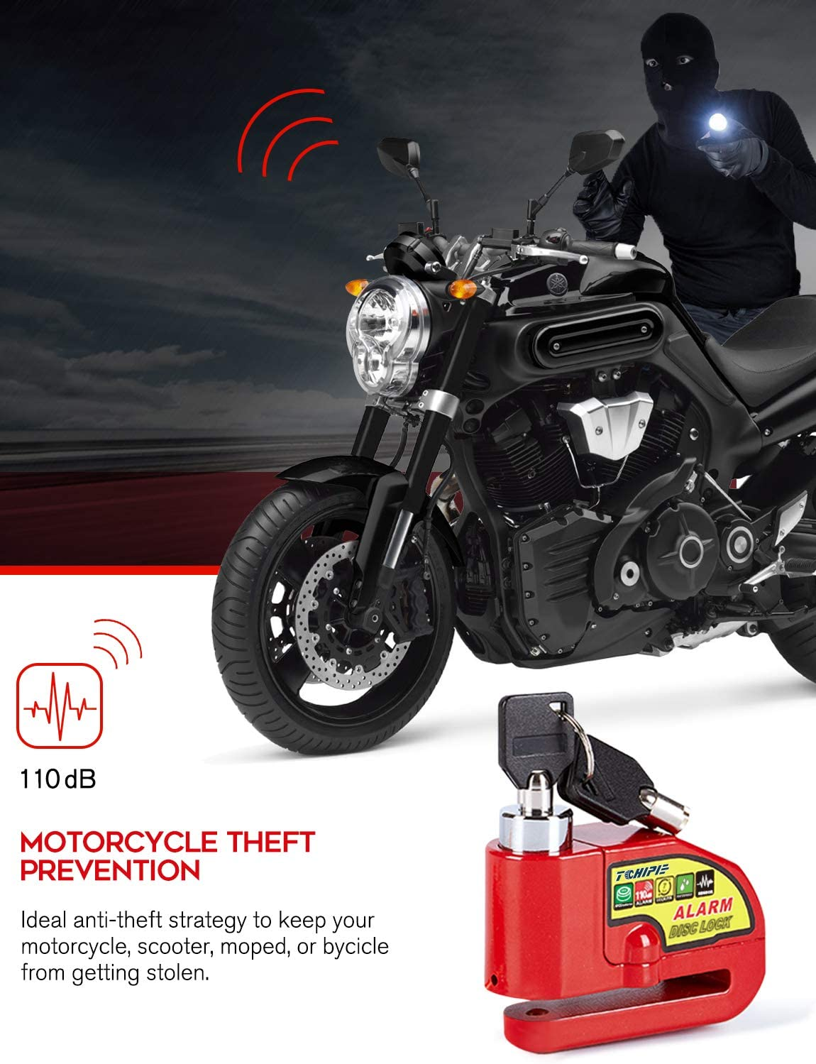 Motorcycle Bike Scooter Wheel Disc Brake Lock 110DB Alarm Anti theft Security FD