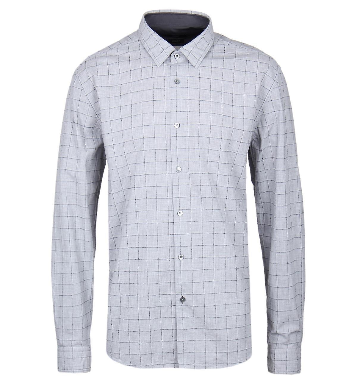 Hugo Boss Men's Trim Fit Lance Grey Melange Short Length Shirt - XL