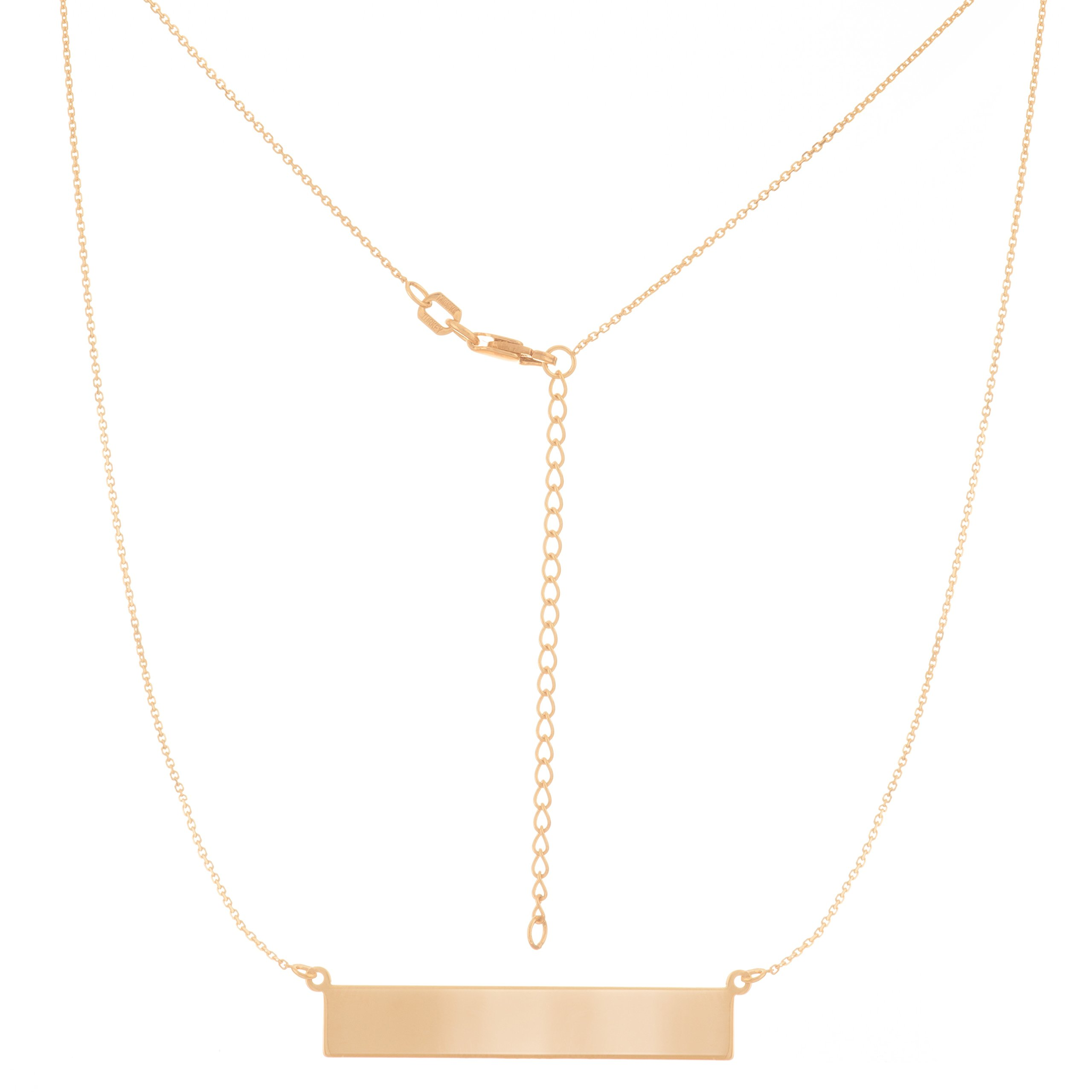 NAME PLATE NECKLACE, 14KT GOLD NAME PLATE NECKLACE 18'' INCHES