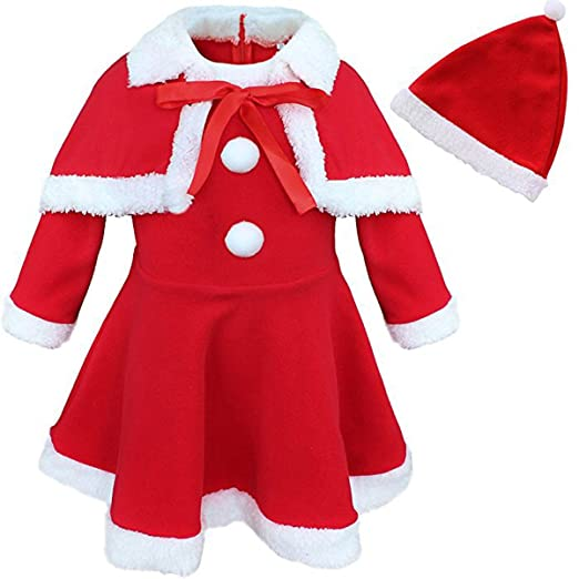 ZTie Baby Girls Christmas Santa Claus Long Sleeve Top Dress with Shawl Hat Outfit Set Xmas Holidays Party Costume