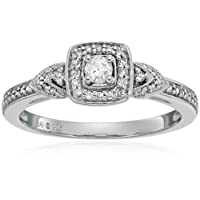 Sterling Silver Diamond 3-Stone Engagement Ring (1/4cttw, I-J Color, I3 Clarity), Size 7