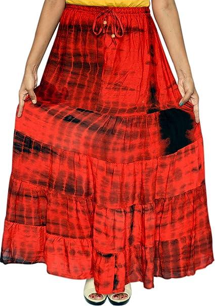 Radio larga indias falda mujeres Tie Dye Maxi India Ropa rojo talla ...