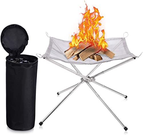 WUYASTA 16.5″ Portable Outdoor Fire Pit Collapsing Steel Mesh Fireplace Foldable Camping Fire Pit Campfire Pit Outdoor Wood Burning Fire Pits