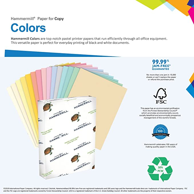 Amazon Hammermill Colored Paper Canary Printer Paper 24lb