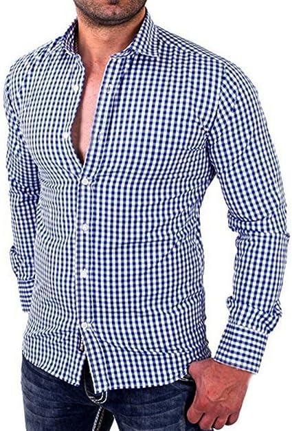 Hombres camisas de manga larga a cuadros Hombres camiseta slim fit business casual (M, Azul)