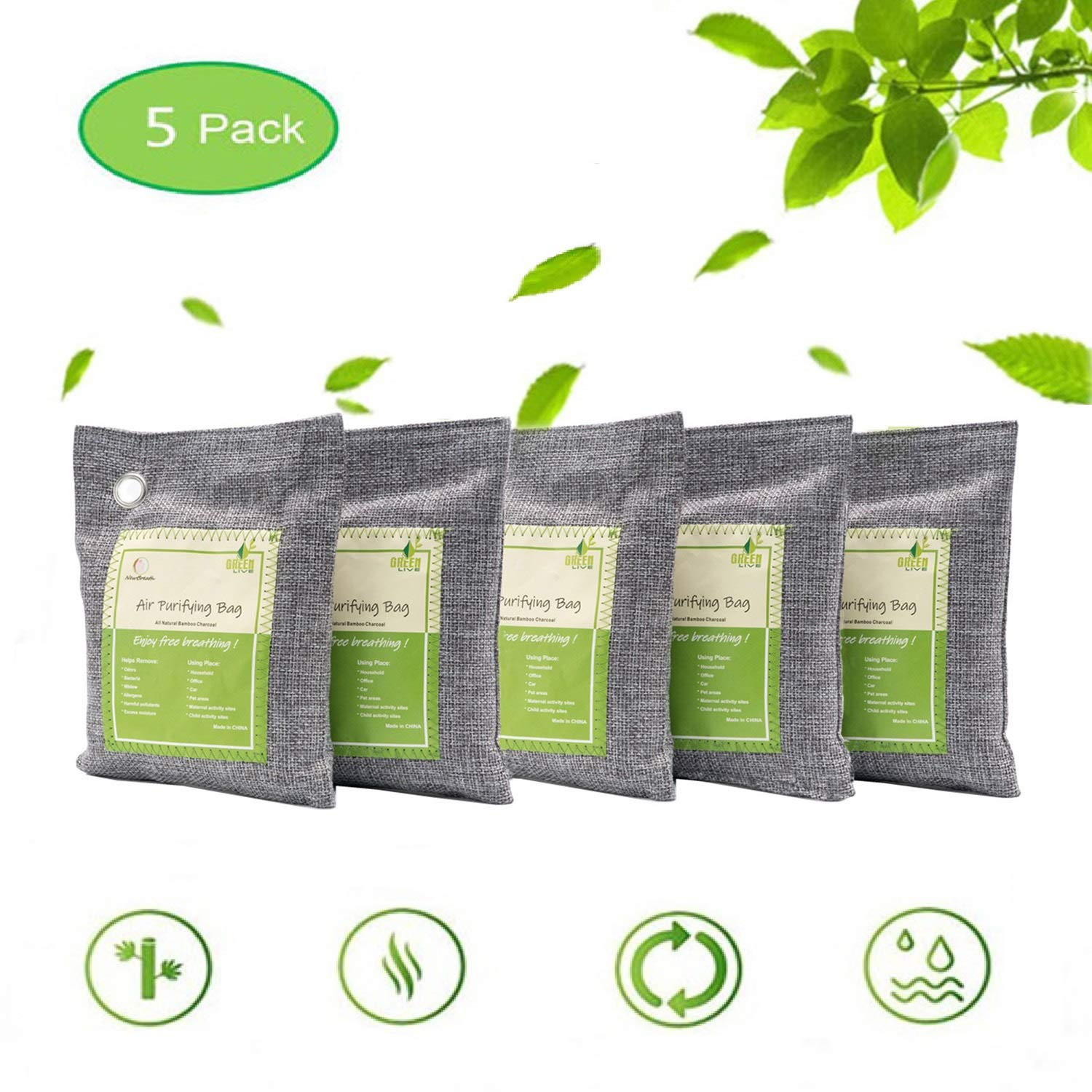 Air Purifying Bags Activated Bamboo Charcoal Natural Air Purifier Freshener Neutralizer Filter Odor Remove Eliminator Deodorizer Moisture Absorber for Home, Car, Closet, Bathroom, Basement, Litter Box, Shoe (5 Pack, 200g Each) by SNAWOWO