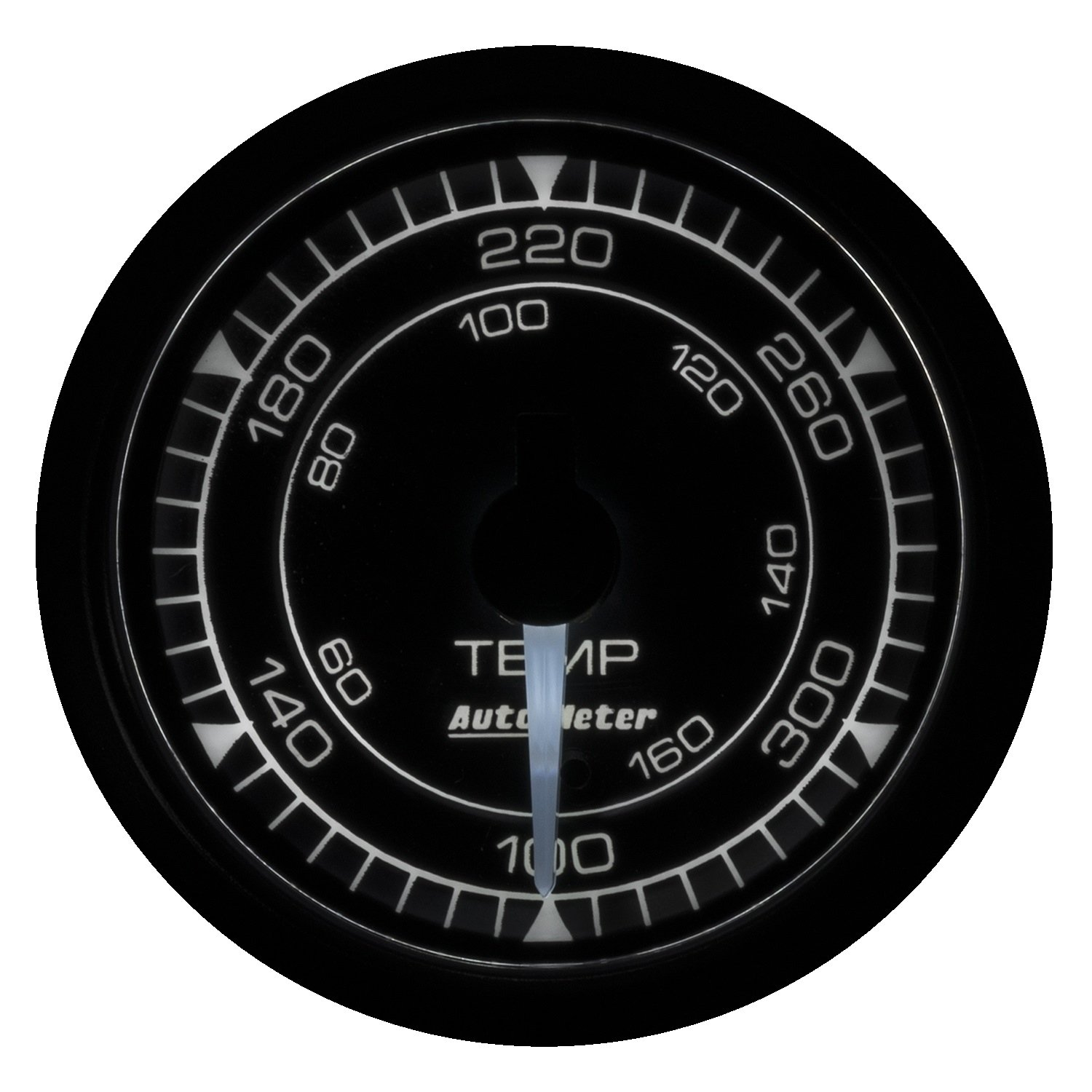 AutoMeter 8140 Chrono Oil Temperature Gauge 2-1/16 in. Black Dial Face White LED Electric Digital Stepper Motor 140-380 Degree F Chrono Oil Temperature Gauge
