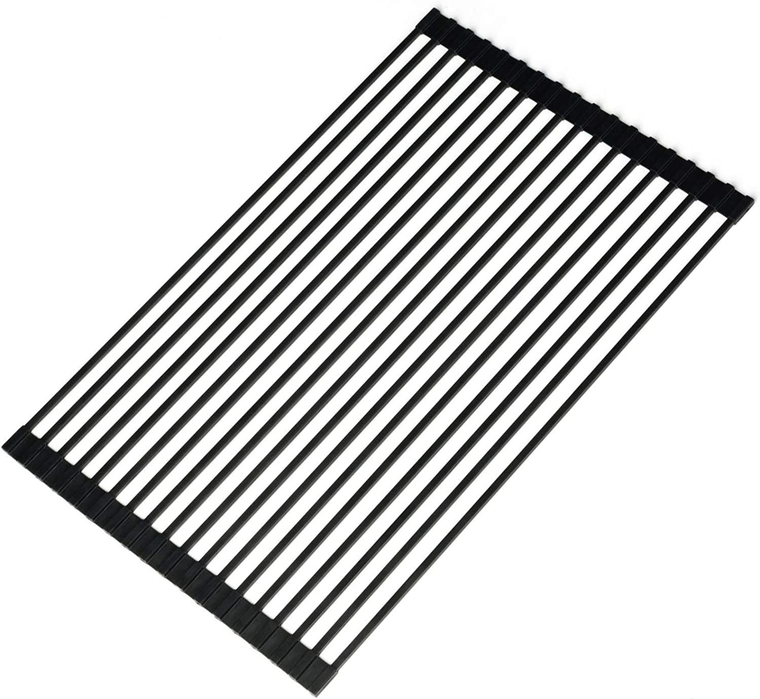 Ahyuan Large Roll-up Dish Drying Rack Multipurpose Silicone Wrapped Metal Steel Square Solid Bars Dishes Drainer Rack Large Foldable Over Sink Kitchen Drainer Rack (Matte Black)
