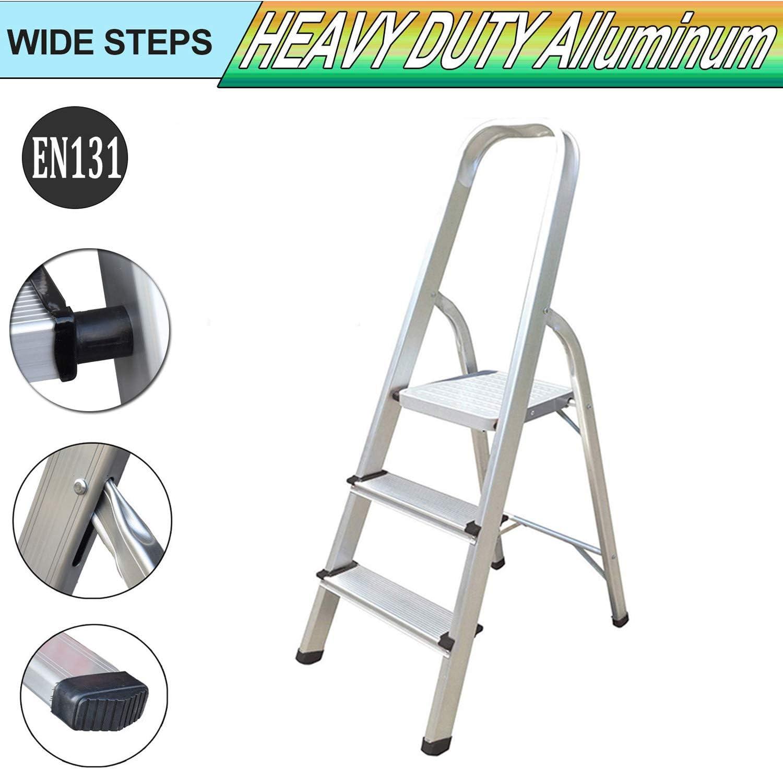 Escalera de 3 peldaños de aluminio, peso ligero, resistente al óxido, extra ancha, antideslizante, portátil, plegable, escalera para el hogar, capacidad de 330 libras: Amazon.es: Oficina y papelería