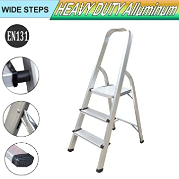 Escalera de 3 peldaños de aluminio, peso ligero, resistente al ...