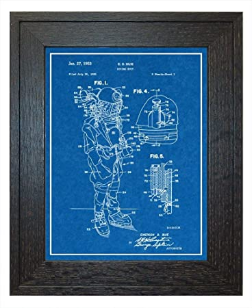 Amazon diving suit patent art blueprint print with a border in diving suit patent art blueprint print with a border in a rustic oak wood frame malvernweather Images