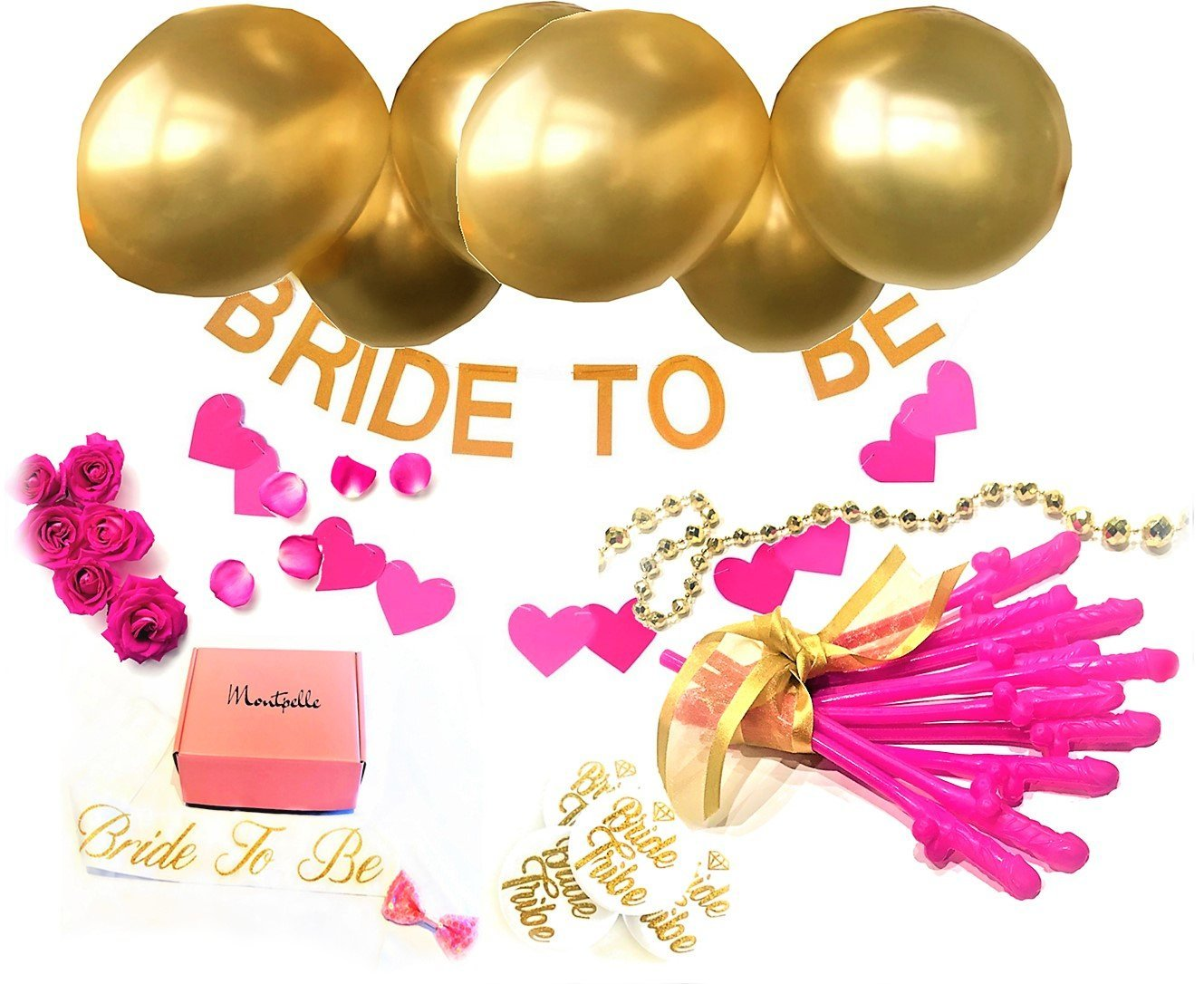 Bachelorette Party Decorations Kit Gold - Pink Heart Banner, Bridal Shower Sash, Bride to Be Banner, Bachelorette Party Straws, Bride Tribe Pins, Gold Balloons