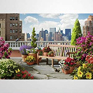 Wooden Jigsaw Puzzles 500 Piece, Rooftop Garden Learning Educational Puzzles for Adults Kids Toddlers Puzzle Toys for Boys and Girls