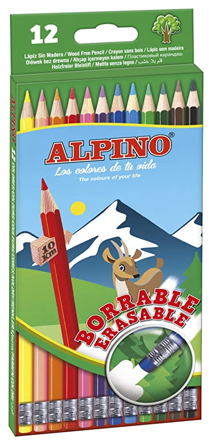 Alpino AL013654 - Estuche 12 lápices borrable