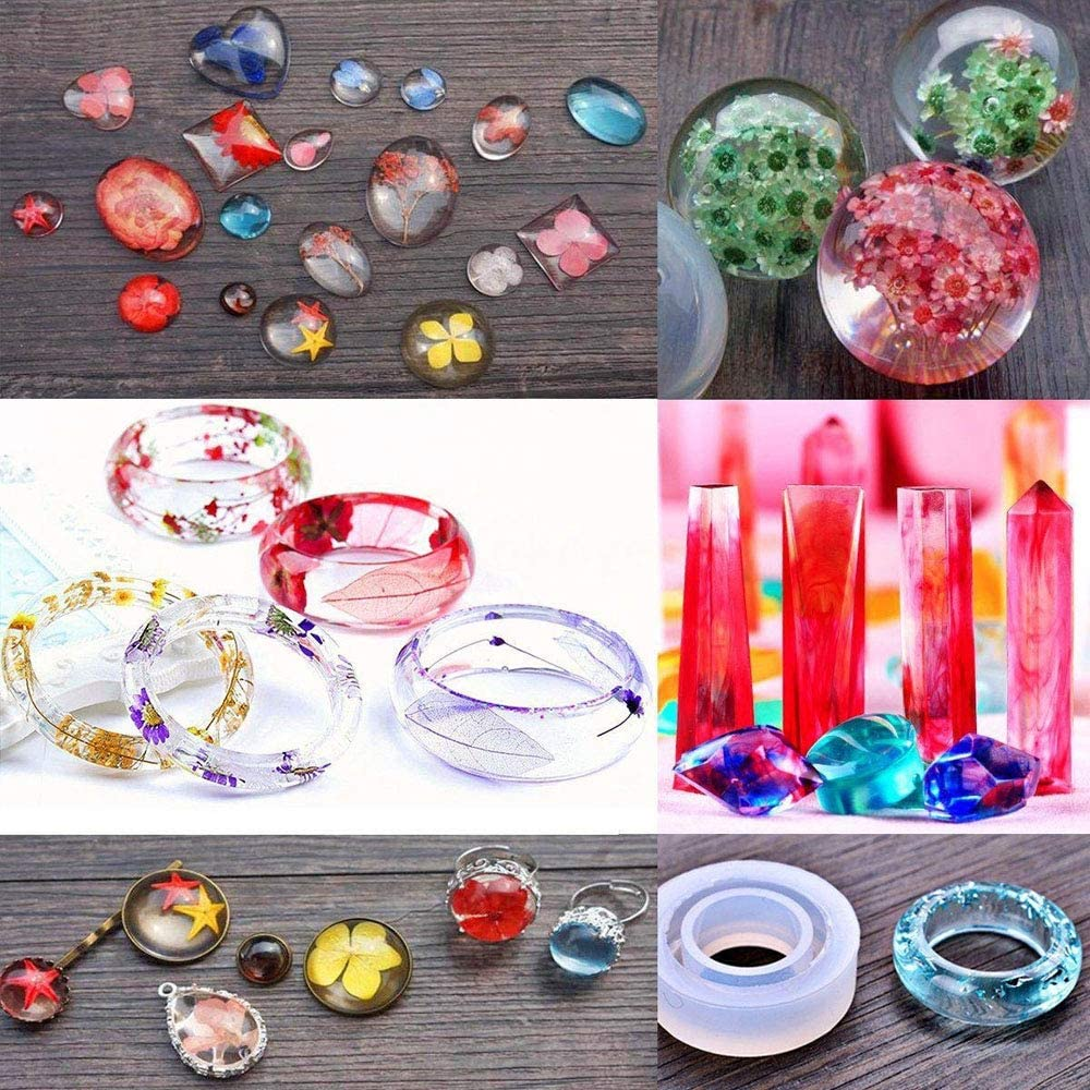 76pcs//Set DIY Handmade Resin Casting Silicone Molds Kit Making Jewelry Pendant