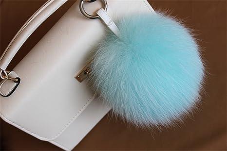 92fe798b8b8e HEARTFEEL Real Fox Fur Pom Pom Ball Keyring Fur Keychain Bag Purse Charm Fur  Ball