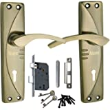 ATOM Mortice Door Handle-Set Brass Antique Finish with Double Stage Lock 3 Key Set