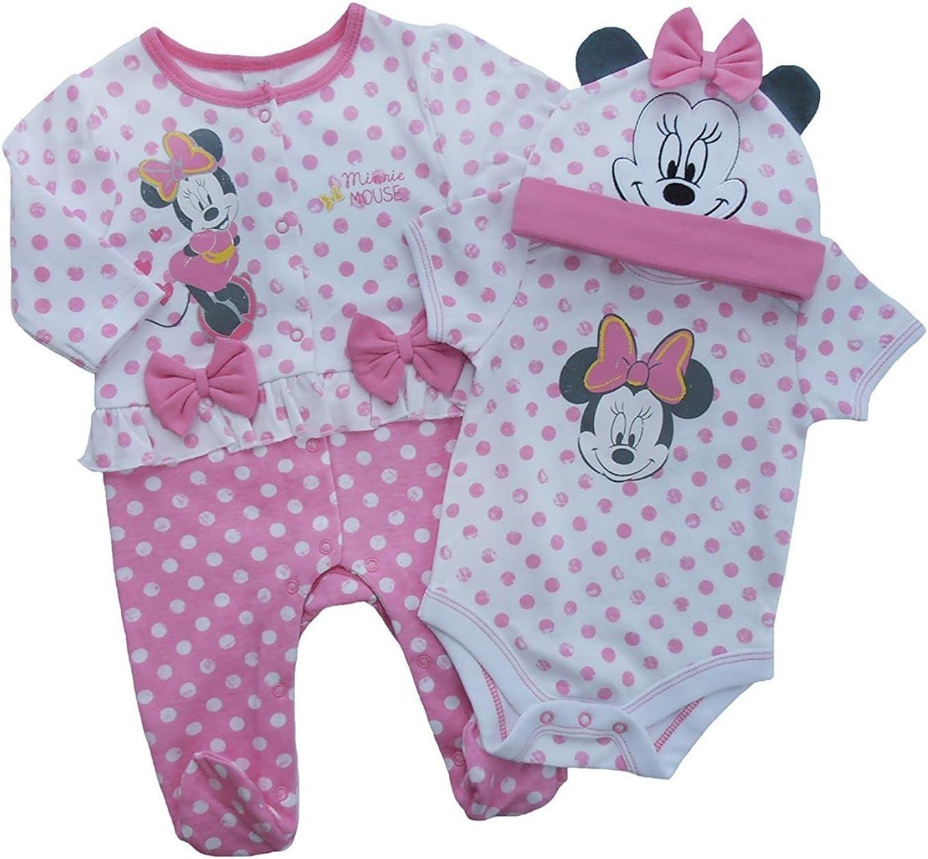 Disney 3 piezas Minnie Mouse bebé niña Body de manga corta para ...